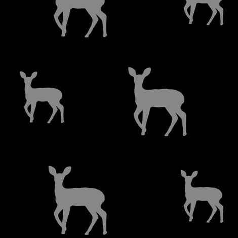 Grey deer on black fabric by carrie_narducci on Spoonflower - custom fabric