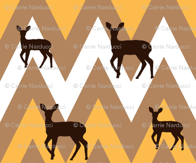 Chevron and deer in deco colors