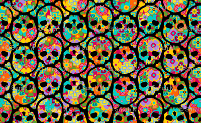 Day of the Dead Flowered Skull BLACK on multi - SMALL