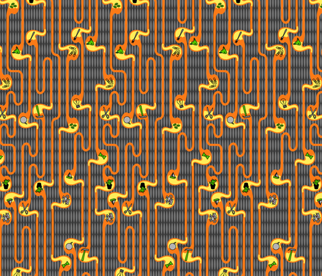 Don't Eat That!  orange and honey fabric by thirdhalfstudios on Spoonflower - custom fabric