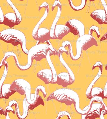 Plastic Flamingos - Gold