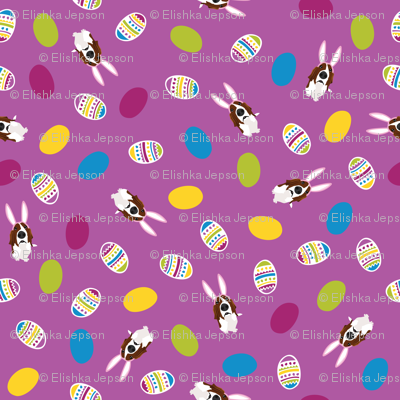 Easter Basset & Eggs Scattered