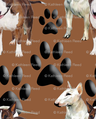Bull Terriers and Paw prints