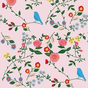 Blue bird in the garden (Pink)