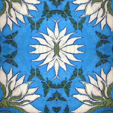 Lotus and butterfly, small version fabric by hooeybatiks on Spoonflower - custom fabric