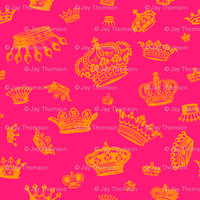 Royal Crowns - Gold on Hot Pink