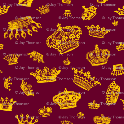 Royal Crowns - Yellow on Maroon