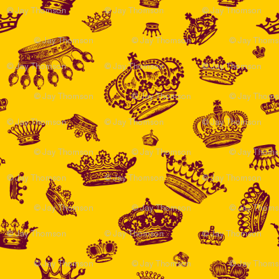 Royal Crowns - Maroon on Yellow