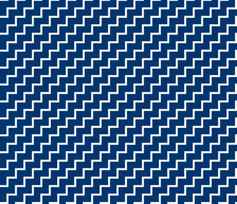 Bias Zig Zag - White on Navy fabric by laurendahl on Spoonflower - custom fabric