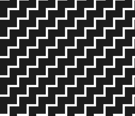 Bias Zig Zag - White on Black fabric by laurendahl on Spoonflower - custom fabric