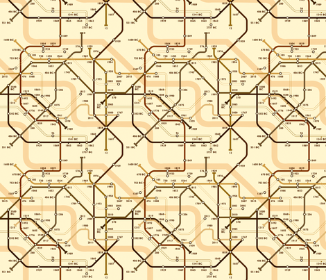 Time Travel Map Sepia fabric by jenimp on Spoonflower - custom fabric