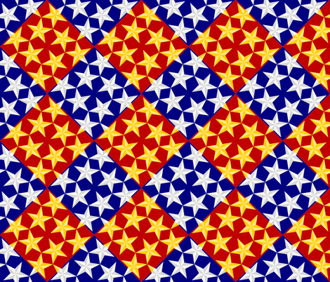 S43 CV1 3-D stars on diamonds fabric by sef on Spoonflower - custom fabric