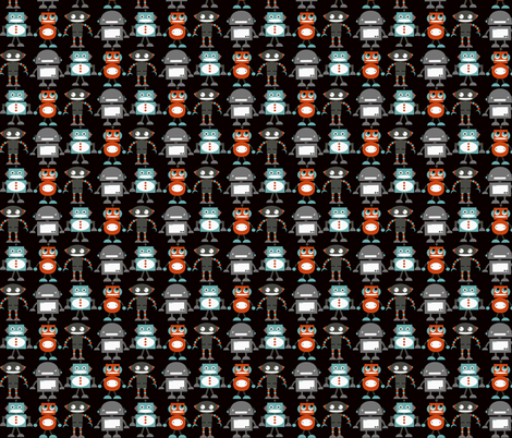 Robots on Charcoal fabric by natitys on Spoonflower - custom fabric