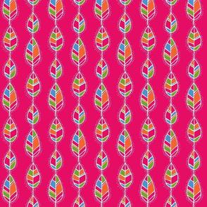 Line leaves on pink