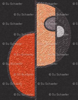 Half circles orange on brown SMALL