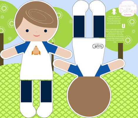 Brunette Boy Action Figure fabric by natitys on Spoonflower - custom fabric