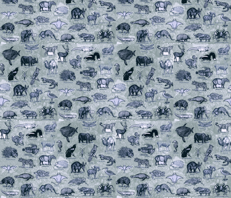 BLUE_ANIMALS fabric by pricklymonkey on Spoonflower - custom fabric