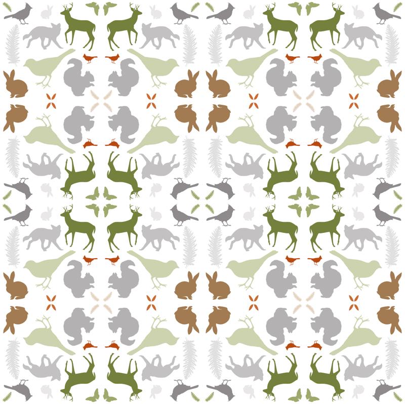 Crown M1168 Grey White Woodland Horse Wallpaper Animal Deer Floral ...