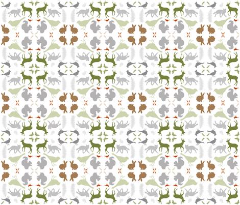 Woodland Animal Damask fabric by kirstin_e on Spoonflower - custom fabric