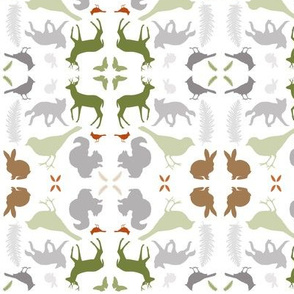 Woodland Animal Damask