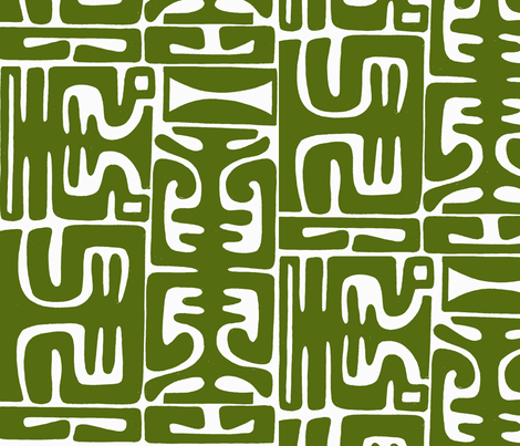 Marquesan Mambo in avacado fabric by sophista-tiki_by_dawn_frasier on Spoonflower - custom fabric