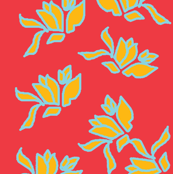 Scattered Nosegay in Mustard on Summer Red