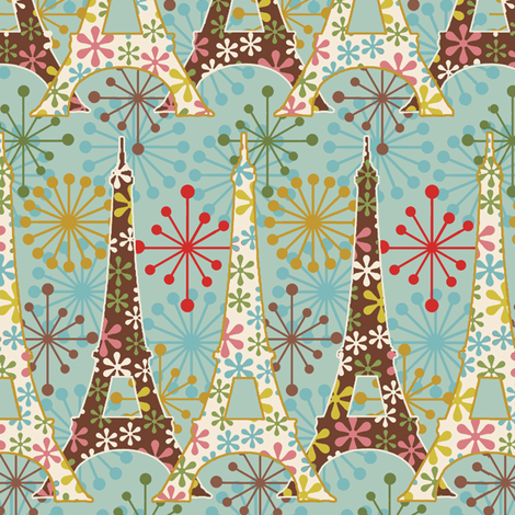 Sparkling_Paris /Aqua fabric by hoodiecrescent&stars on Spoonflower - custom fabric