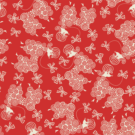 Ribbon Poodle / Red fabric by hoodiecrescent&stars on Spoonflower - custom fabric