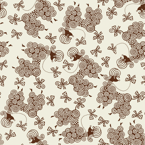 Ribbon Poodle / Cream fabric by hoodiecrescent&stars on Spoonflower - custom fabric