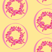 ribboned posey wreath/ Pinks on Butter Cream