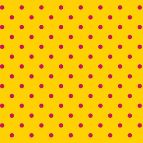 Pink Polka Dots on Yellow
