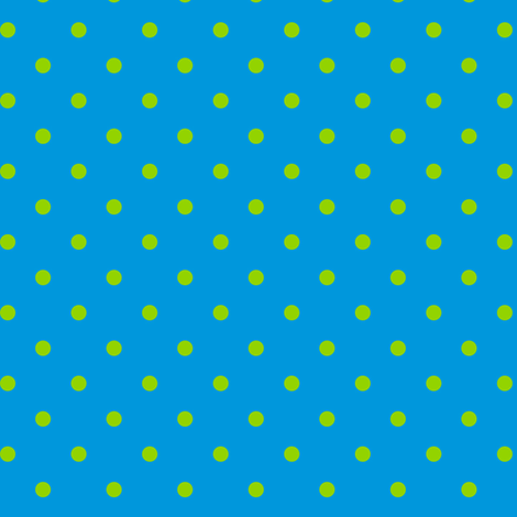 Green Polka Dots on Blue fabric by stitchwerxdesigns on Spoonflower - custom fabric
