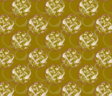 Birds in paradise in latte fabric by me-udesign on Spoonflower - custom fabric