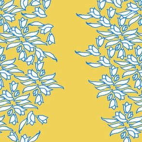 Provincial Bowers, Pale and Periwinkle on Mustard