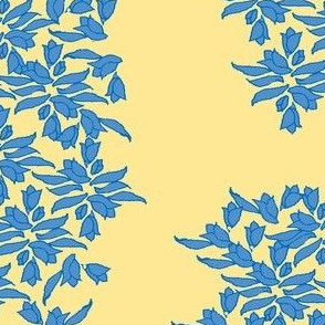 Provincial Bowers, Periwinkle on Mustard