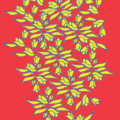 Provincial Bowers, Mustard on Summer Red