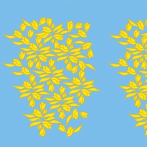 Provincial Bowers, Mustard on Periwinkle