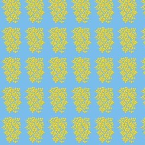 Provincial Bowers, Small, Mustard on Periwinkle