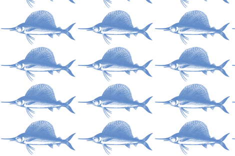 Big Blue Marlin!! (deep sea blue & white) fabric by pattyryboltdesigns on Spoonflower - custom fabric