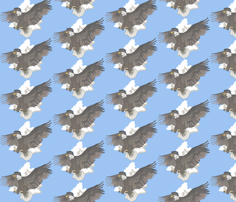 Eagles in Flight-pale fabric by glimmericks on Spoonflower - custom fabric