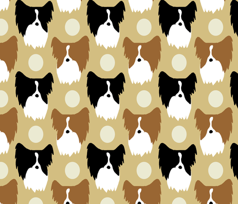 Simple color Papillon faces - tan fabric by rusticcorgi on Spoonflower - custom fabric