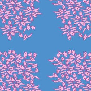 Provincial Bowers, Pinks on Periwinkle