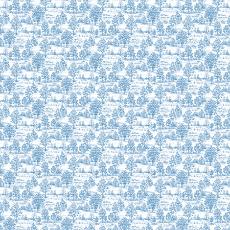 Mini Toile Blue ©2012 by Jane Walker fabric by artbyjanewalker on Spoonflower - custom fabric