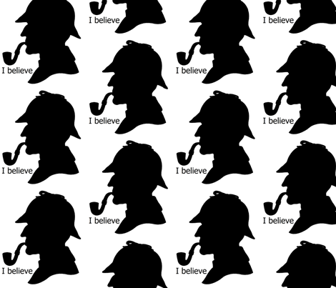 I believe in Sherlock fabric by twoboos on Spoonflower - custom fabric