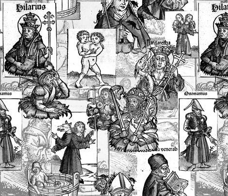 Nuremberg Chronicles Grayscale  fabric by mouo on Spoonflower - custom fabric