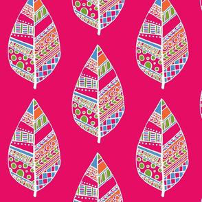 patterned leaf huge pink