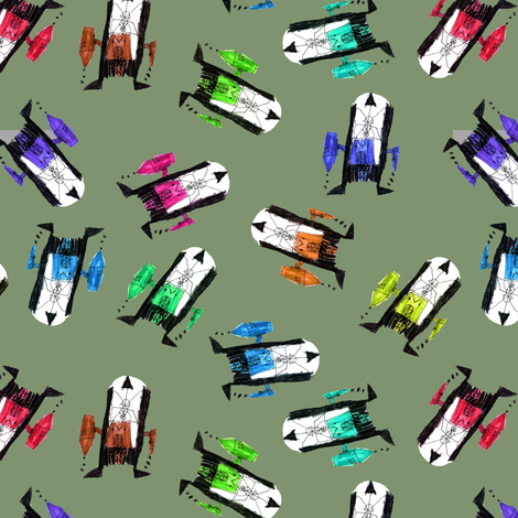 bubbie's robots on camo fabric by weavingmajor on Spoonflower - custom fabric
