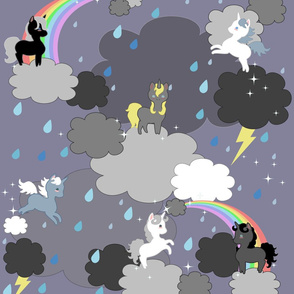 Playful Unicorns in the Rain