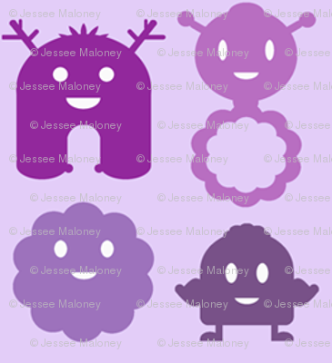 Monsters in a Row - purples - teeny tiny