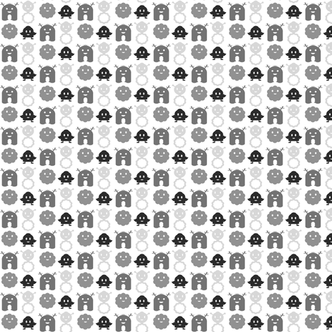 Monsters in a Row - black and grey on white background - teeny tiny fabric by jesseesuem on Spoonflower - custom fabric
